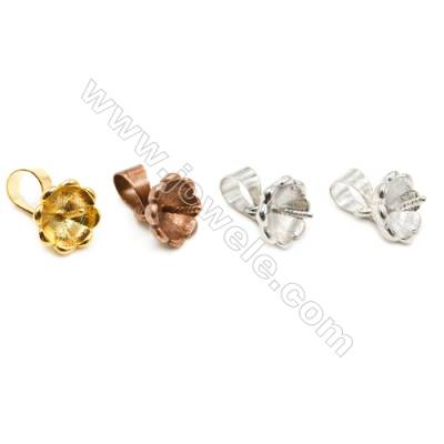Brass Pinch Bails Pendant Size 7x13 mm  Dia 8mm  Pin 0.7mm  200pcs/pack  Color(golden white golden bronze purple bronze)