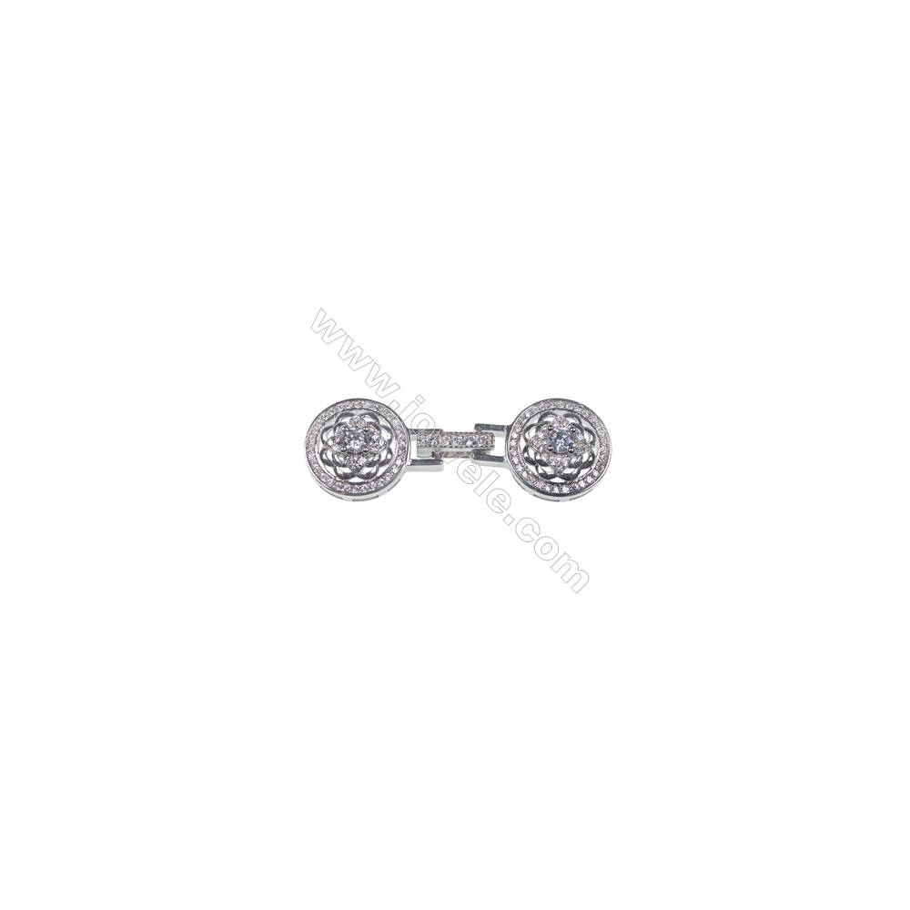 Round flower micro pave zircon stone 925 sterling silver connector clasp for necklace making-841126 x 1pc 14mm