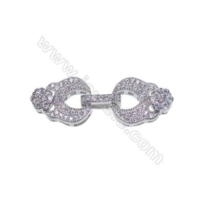 Fashion jewelry findings 925 silver platinum plated connector clasp for necklace jewelry making-841124 x 1pc 13x15mm