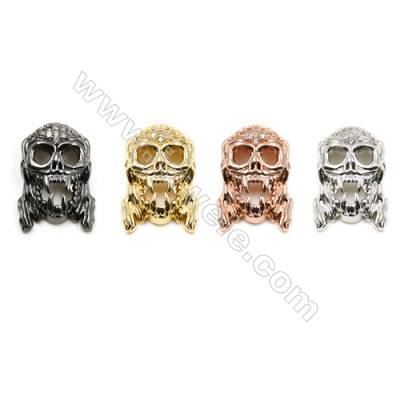 11x18mm  Brass Charm (Gold  Rhodium  Rose Gold  Gun black) Plated  CZ Micropave Hole 2mm 20pcs/pack