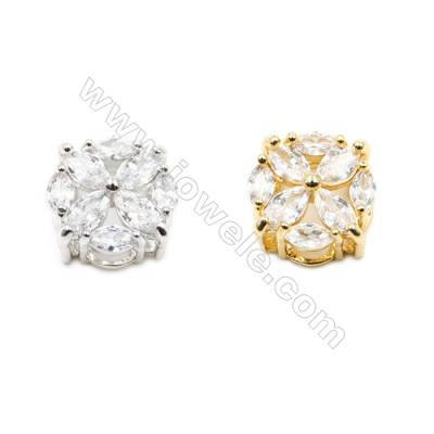 9.5x16mm  Brass Charm (Gold  Rhodium) Plated  CZ Micropave Hole 2.35х2.85mm 20pcs/pack