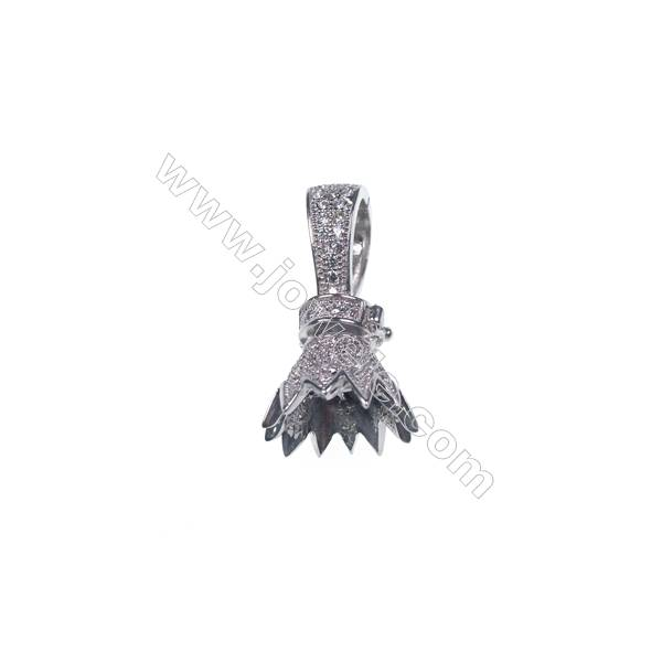 925 sterling silver crown platinum plated CZ micro pave clasp for pendant-83898 13x23mm x 1pc