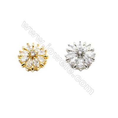 10x16mm  Brass charm  (Gold  Rhodium) Plated  CZ Micropave Hole 1.5mm 30pcs/pack
