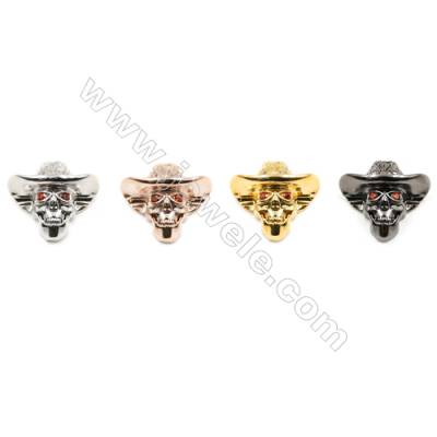19x21mm  Brass charm  (Gold  Rhodium  Rose Gold  Gun black) Plated  CZ Micropave Hole 1mm 15pcs/pack