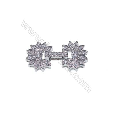 Wholesale flower jewelry finding 925 silver platinum plated CZ connector clasp for DIY-841127 x 1pc 13mm