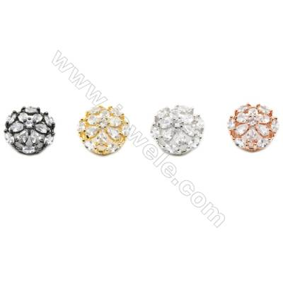 10x15mm  Brass charm  (Gold  Rhodium  Rose Gold  Gun black) Plated  CZ Micropave Hole 2.85х5mm 20pcs/pack