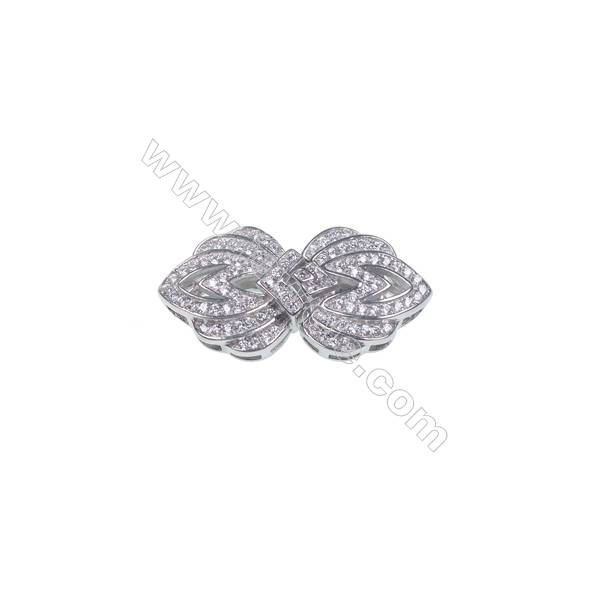 Floral designed 925 silver platinum plated CZ connecting clasp for jewelry necklace making-841081 x 1pc 14x14mm