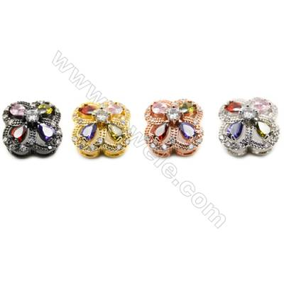 12x16mm  Brass charm  clover,(Gold  Rhodium  Rose Gold  Gun black) Plated  CZ Micropave Hole 2.85x5mm 20pcs/pack