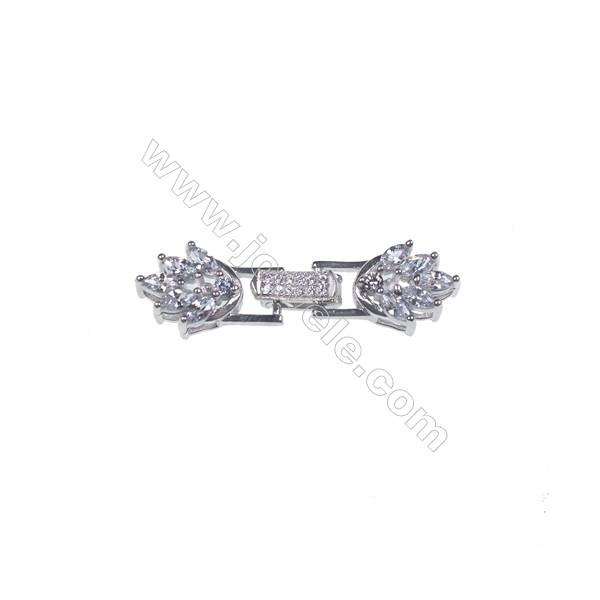 Mirco pave CZ stone 925 sterling silver platinum plated flower connector clasp for necklace-841110 x 1pc 9x15mm