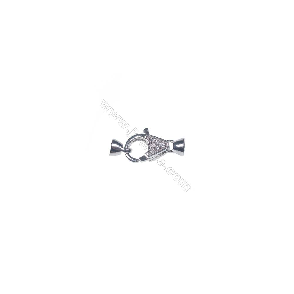 Wholesale 925 sterling silver platinum plated CZ lobster claw clasp connetor for necklace-83837 x 1pc 10x13mm