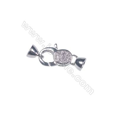Zircon micro pave lobster clasp 925 sterling silver platinum plated connector clasp for jewelry making-83688  9x13mm x 1pc