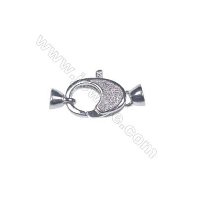 Wholesale zircon micro pave 925 silver platinum plated lobster claw clasp connector for necklace-83963 12x15mm  x 1pc