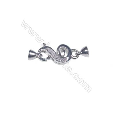Genuine silver platinum plated musical note necklace connector clasp wholesale jewelry findings-83960 10x20mm x 1pc