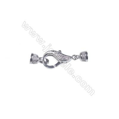 925 silver platinum plated zircon micro pave lobster claw clasp connetor for necklace--841171 x 1pc 6x13mm