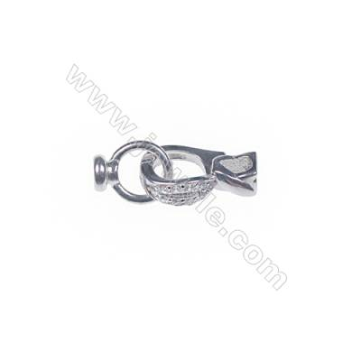 925 Sterling silver platinum plated CZ necklace connector clasp for diy jewelry making-841135 x 1pc 8x15mm