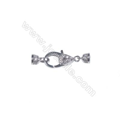 Sterling silver platinum plated lobster clasp with zircon micropave-841172  6x14mm x 1piec