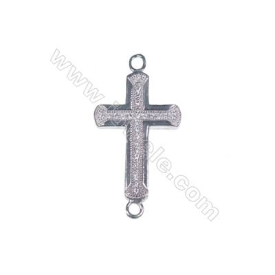 Zircon micro pave 925 sterling silver platinum plated cross pendant necklace connector-BS3002 14x29mm x 1pc
