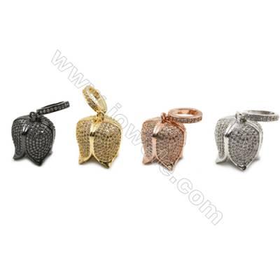 16.5x19.5mm  Brass pendant  (Gold  Rhodium  Rose Gold  Gun black) Plated  CZ Micropave Hole 6х9mm 5pcs/pack