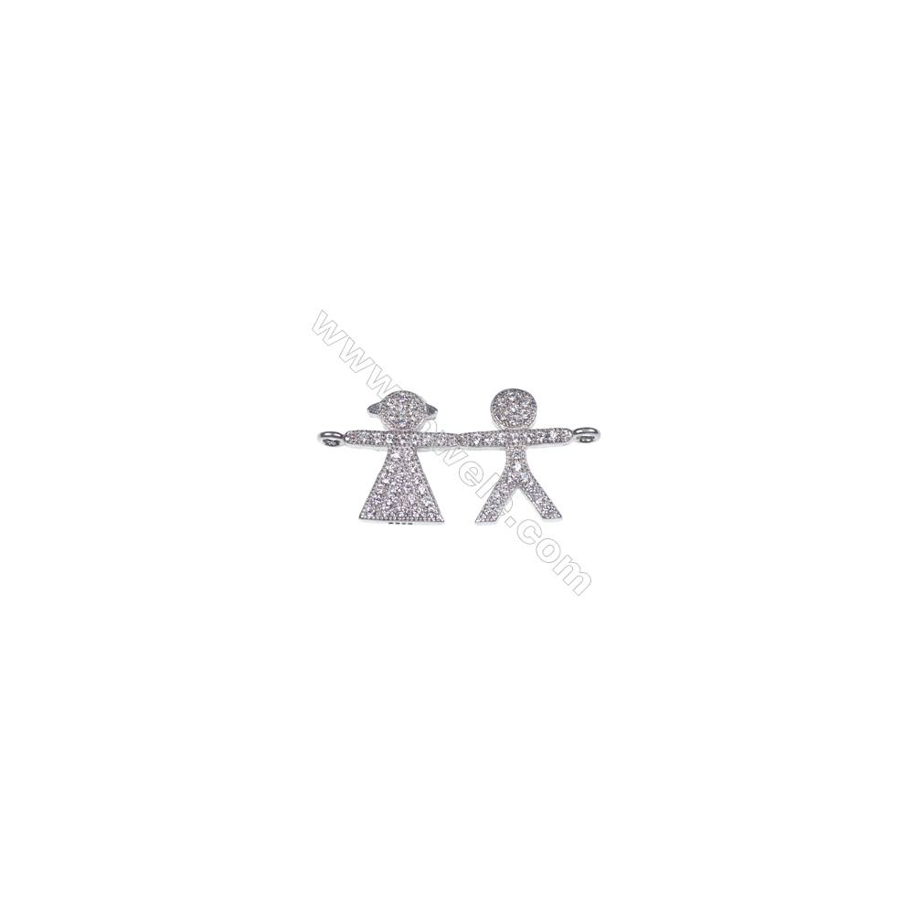 925 Sterling silver platinum plated lovers necklace connector for jewelry making -BS7039 14x27mm