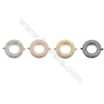 21mm  Brass Connector, round, CZ Micropave, thickness 3mm, Hole 1mm, 8pcs/pack