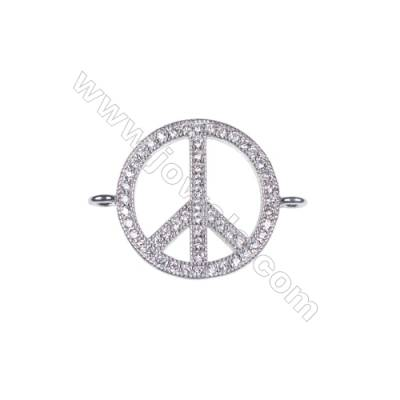 Wholesale peace symbol jewelry findings 925 silver platinum plated necklace connector charms for jewelry making-BS7046  15mm