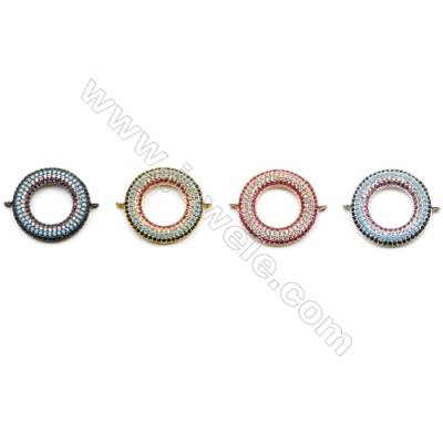 21mm  Brass Connector, round, CZ Micropave, thickness 3mm, Hole 1mm, 6pcs/pack