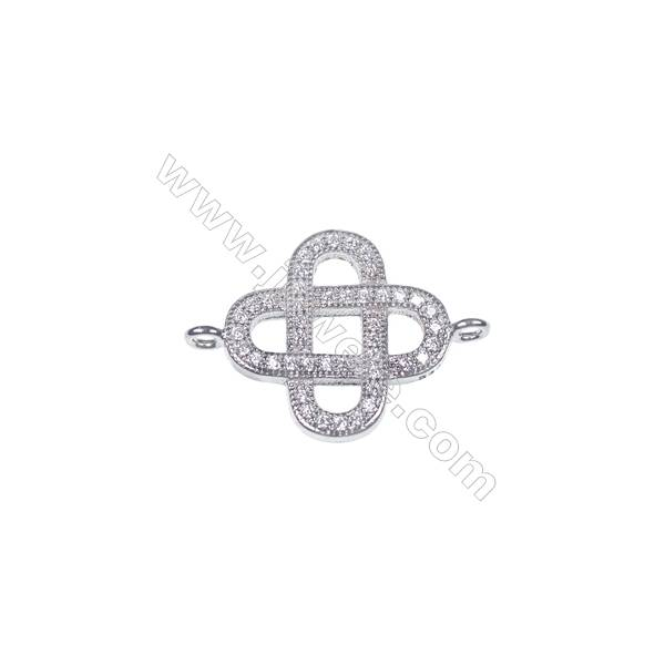 Hollow pattern 925 sterling silver platinum plated 15mm necklace connector fine jewelry findings components-BS7032