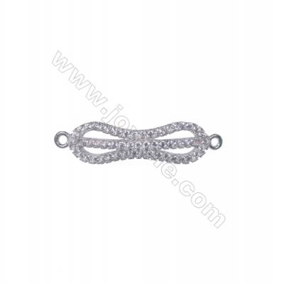 Wholesale platinum plated 925 sterling silver CZ micro pave jewelry findings connectors charms-BS9003 6x27mm x 1pc