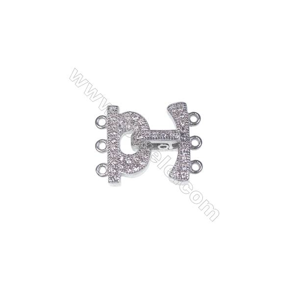 3 Rows multi-strand micro pave CZ stone zircon 925 sterling silver connectors clasps for necklace bracelet making  14x16mm x 1pc
