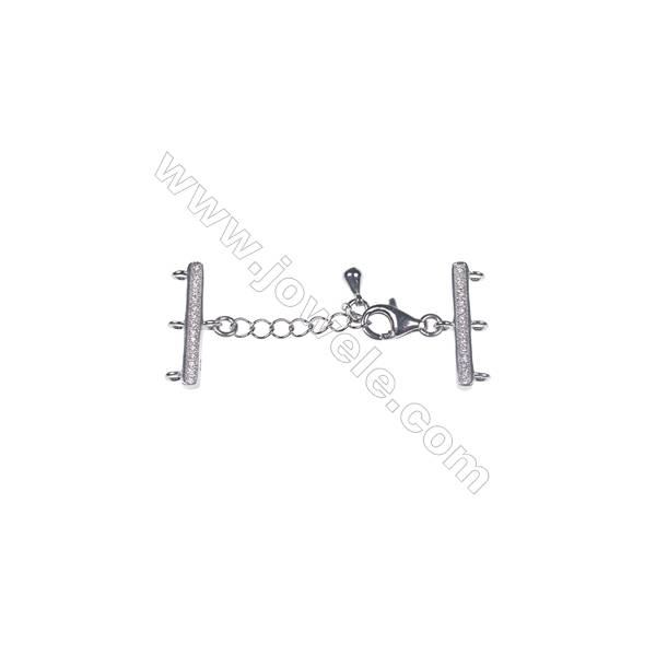 3 strands platinum plated,silver connector clasp x 1pc   strand 7x18mm  lobster 5.5x9mm  Total Length 28-46mm