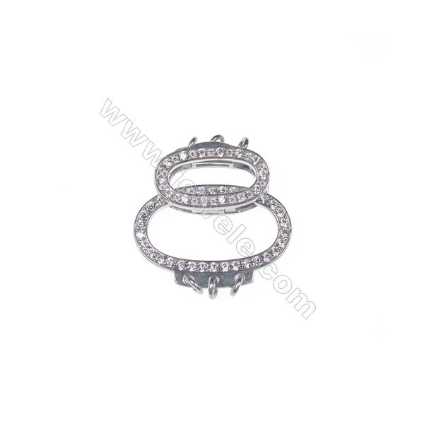 Multi-strand micro pave zircon 925 sterling silver connectors clasps for necklace bracelet making 17x24mm x 1pc