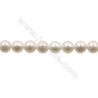 """Natural Fresh Water Pearl  White  Size 6.5~7 mm  Hole 0.7mm  15~16""""/strand"""