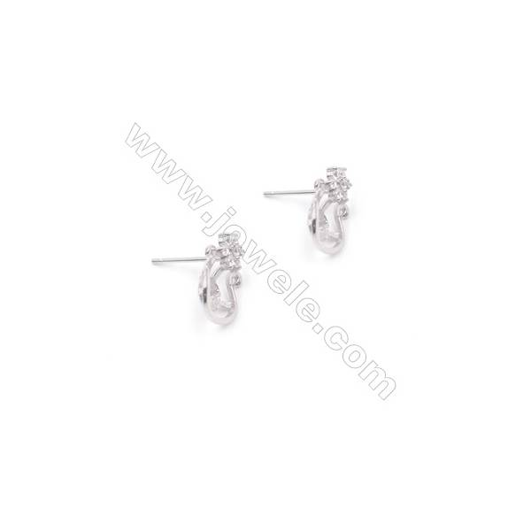 925 silver platinum plated ear stud findings zircon jewelry findings designed for half drilled beads 9x13mm x 1pair