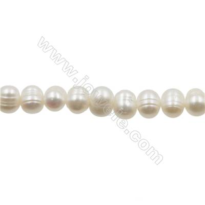 "Natural Fresh Water Pearl  White  Size 7~8 mm  Hole 0.7mm  15~16""/strand"
