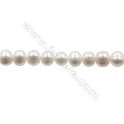 "Natural Fresh Water Pearl  White  Size 8~9 mm  Hole 0.7mm  15~16""/strand"