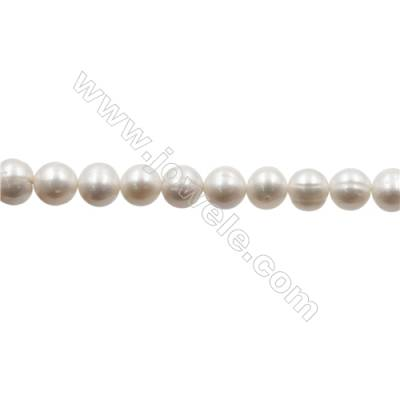 "Natural Fresh Water Pearl  White  Size 9~10 mm  Hole 0.7mm  15~16""/strand"