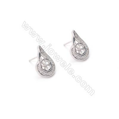 925 silver platinum plated ear stud findings water-drop zircon jewelry findings designed for half drilled beads  10x16mm x 1pair