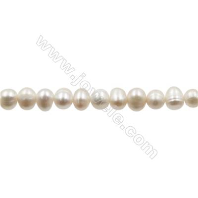 """Natural Fresh Water Pearl  White  Size 5~5.5 mm  Hole 0.7mm  15~16""""/strand"""
