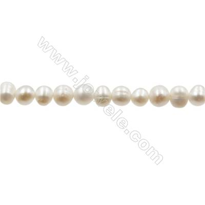 """Natural Fresh Water Pearl  White  Size 4~4.5 mm  Hole 0.4mm  15~16""""/strand"""