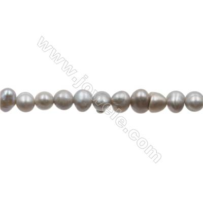 "Grey Natural Fresh Water Pearl  (Dyed)  Size 4~5mm  Hole 0.4mm  13~14""/strand"
