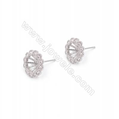 Ear stud findings 925 silver platinum plated floral zircon jewelry findings designed for half drilled beads-E2756 12mm x 1pair