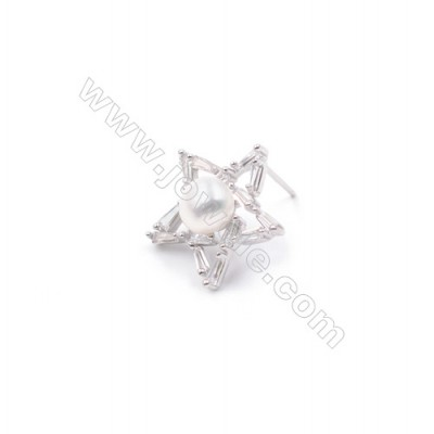 Star platinum plated 925 sterling silver micro pave zircon ear stud components designed for half drilled beads  16mm x 1pair