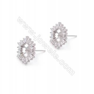 Platinum plated 925 silver flower shaped ear stud findings designed for half drilled beads-E2708 11x14mm x 1pair
