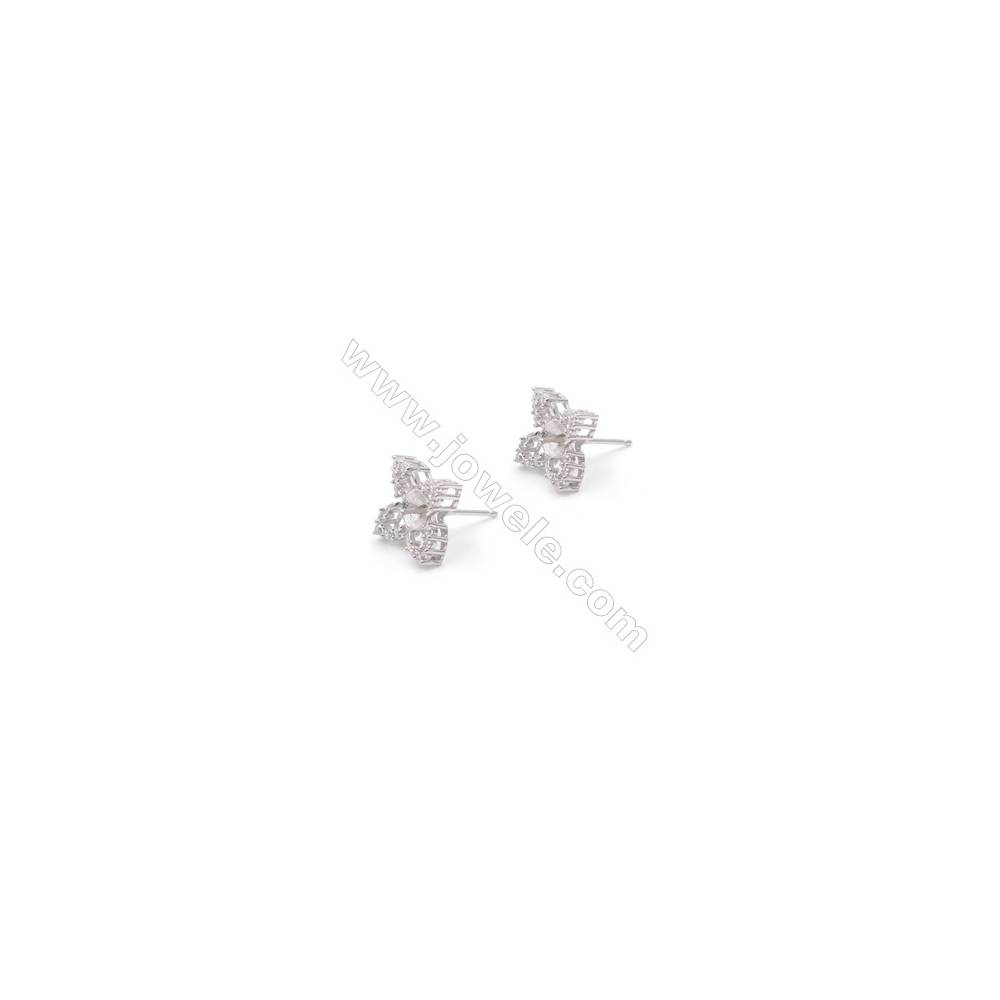 Platinm plated 925 silver flower shaped ear stud findings designed for half drilled beads jewelry making-2837 10x14mm x 1pair