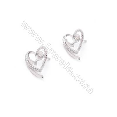 Wholesale heart 15x15mm x1 pair sterling silver earring stud jewelry findings accessories for half drilled beads