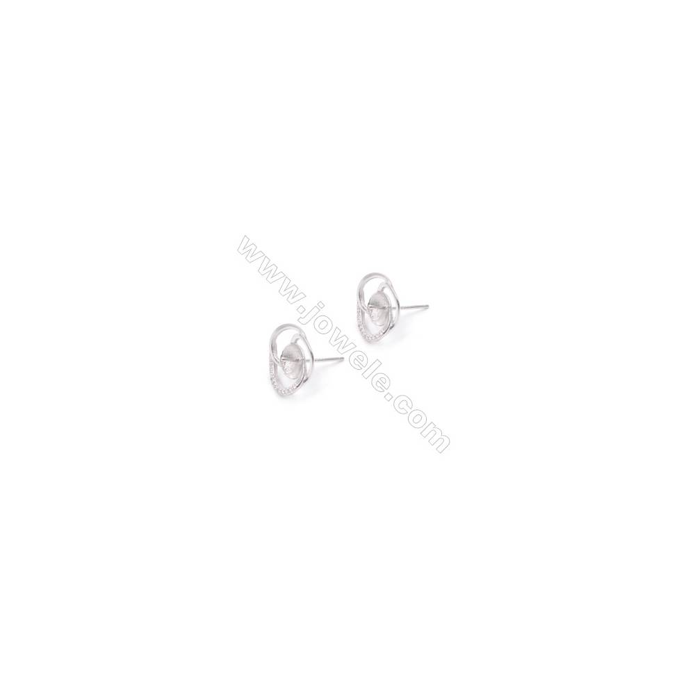 Platinm plated 925 silver flower shaped ear stud findings designed for half drilled beads-E2790 14mm x 1pair