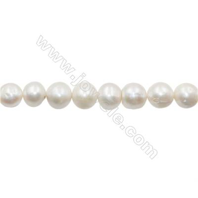 """Natural Fresh Water Pearl  White  Size 12~13mm  Hole 0.7mm  15~16""""/strand"""