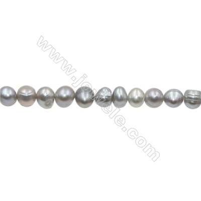 "Natural Fresh Water Grey Pearl  Size 6~7mm  Hole 0.7mm  15~16""/strand"