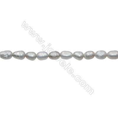 "Natural Fresh Water Grey Pearl  Size 3~4mm  Hole 0.4mm  15~16""/strand"