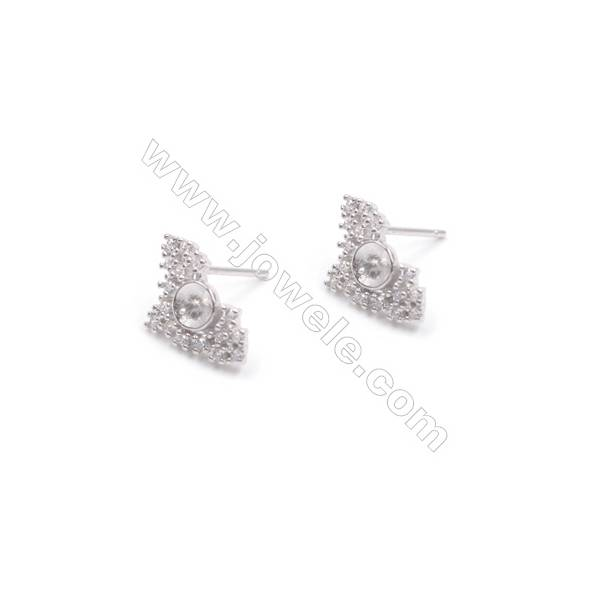 Platinum plated 925 silver bat shaped ear stud findings designed for half drilled beads-E2662 9x15mm x 1pair
